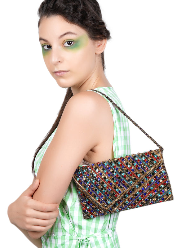 Multi-color Glitzy Envelope Clutch