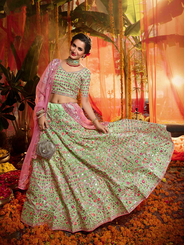 Light Green Organza Floral Heavily Embroidered Lehenga