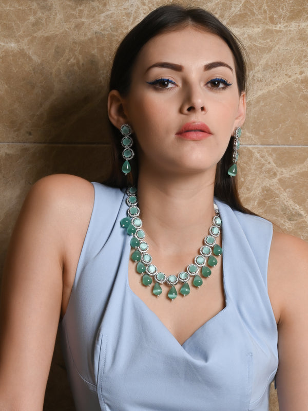 Designer Sea Green Crystal-Mani Necklace Set