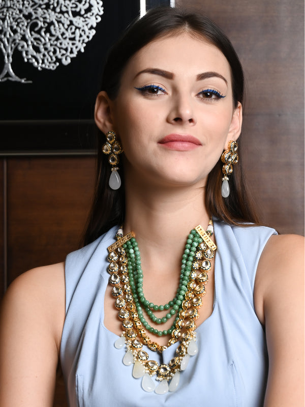 Green Pearl-Kundan Layered  Necklace Set