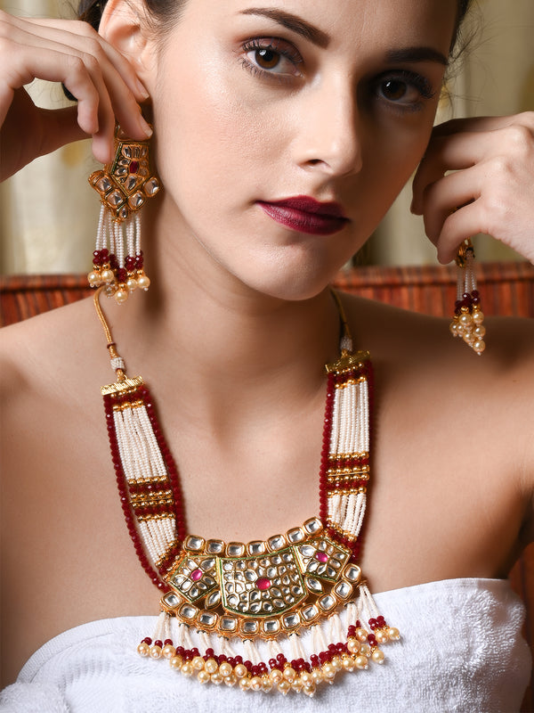 Dense Gold Tone White-Red Pearl-Kundan Necklace Set