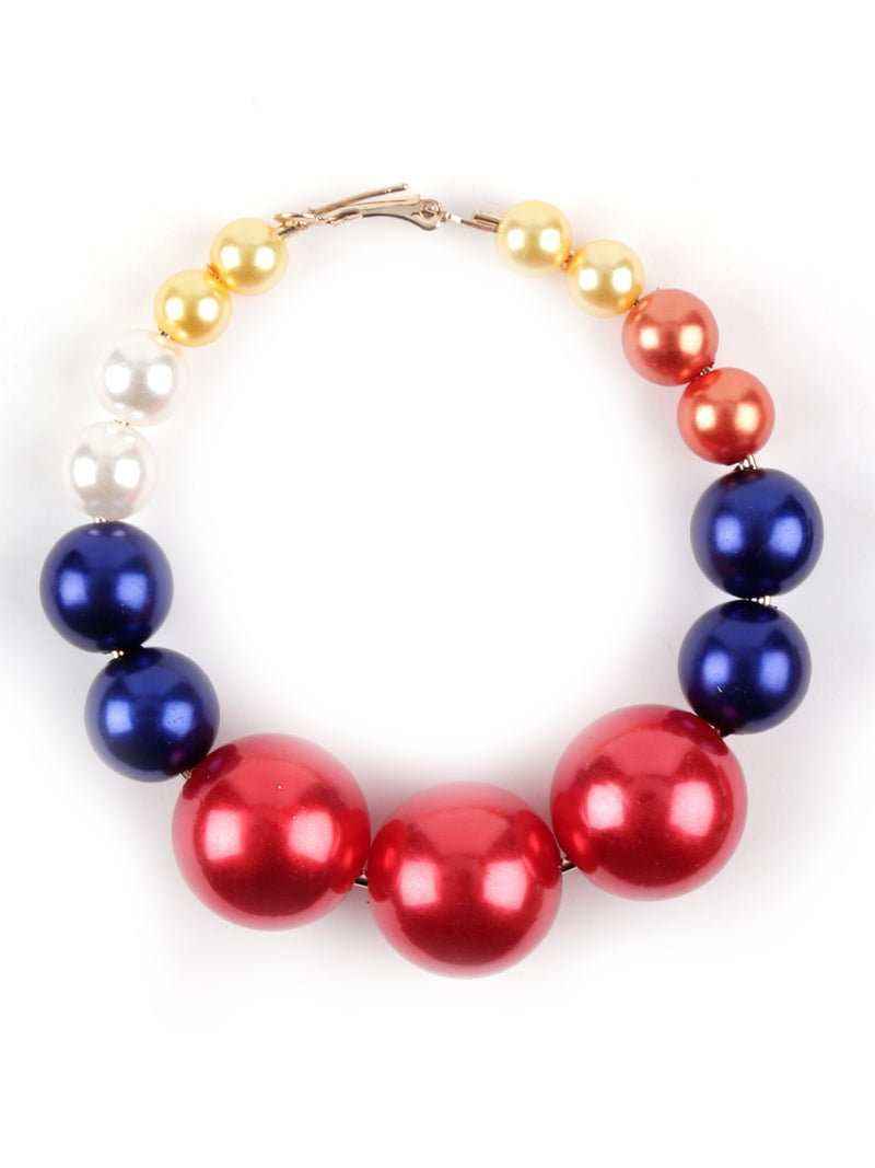 Multicolour Pearl Dangly  Hoops
