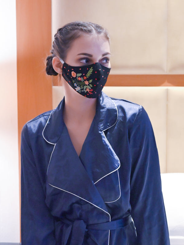 Black Floral Design Trendy Protective Mask