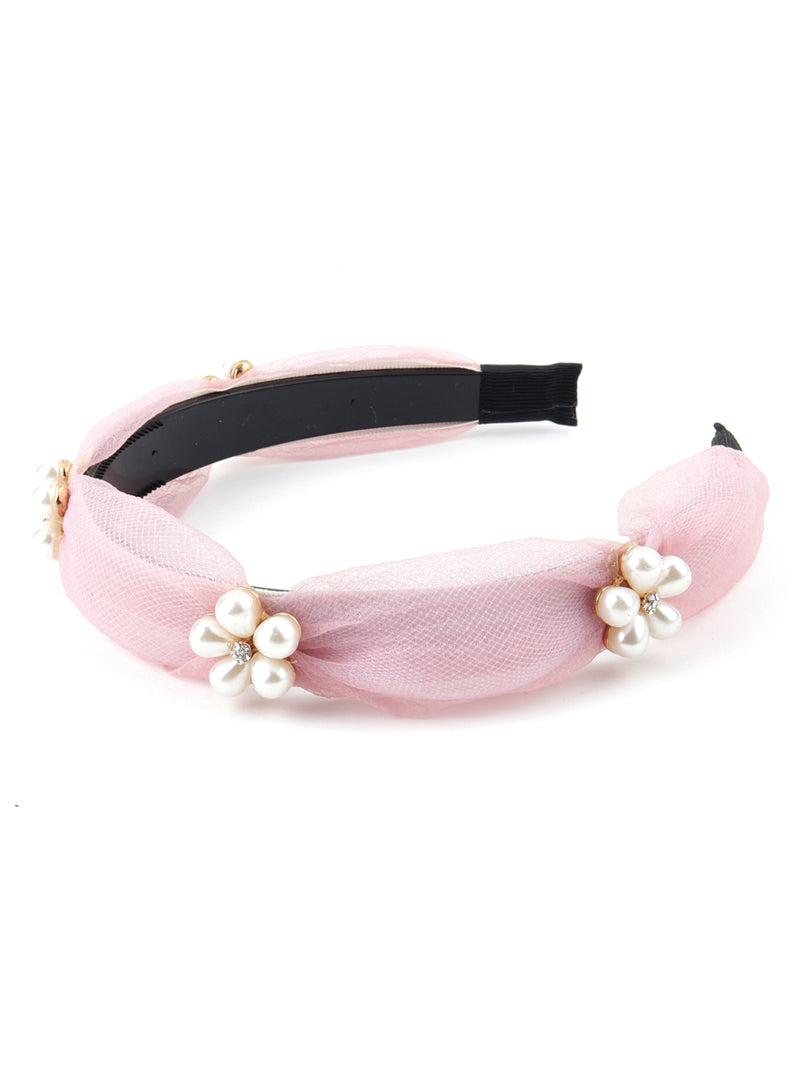 Pink Net Pearly Hairband