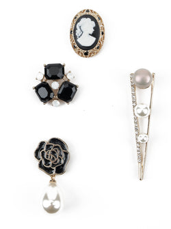 Set of Four Vintage White- Black Brooch
