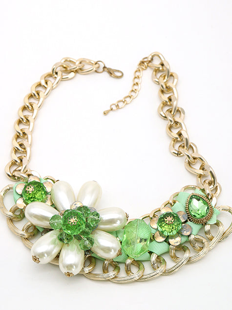 Golden loopy & floral necklace
