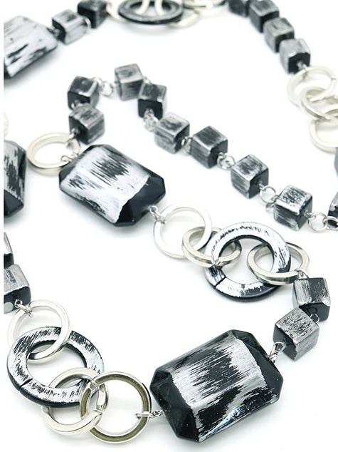 Funky Black-silver Cubed long put on necklace