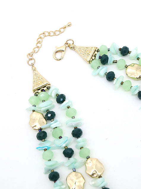 ?ÿThree-layered sea green stone necklace!