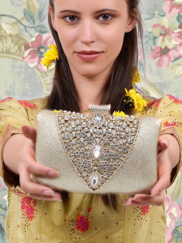 Golden splendid ornate clutch