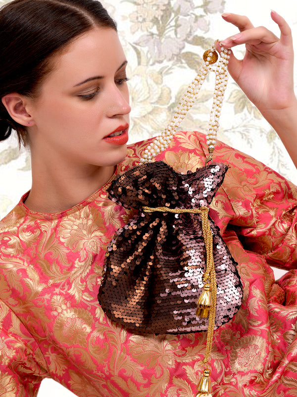 Brown and copper acrylic & fabric potli handbag
