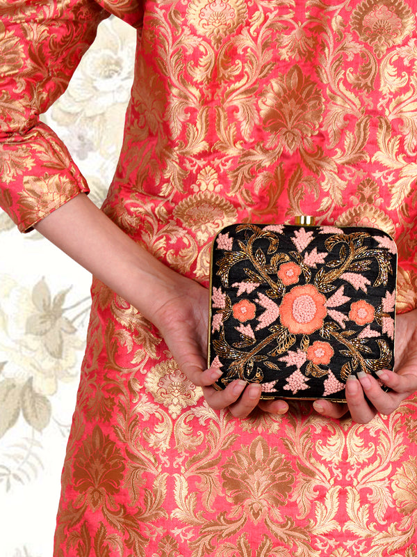 Black, pink, orange square shape embroidered clutch!