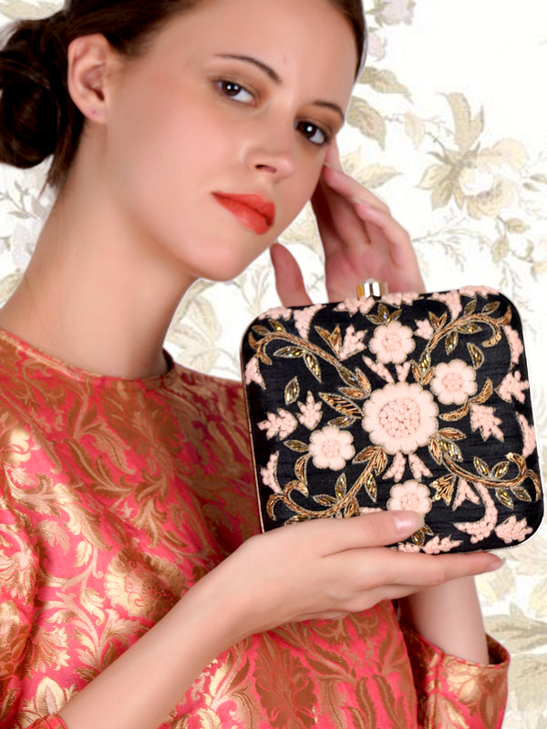 Black and pink square shape embroidered clutch!