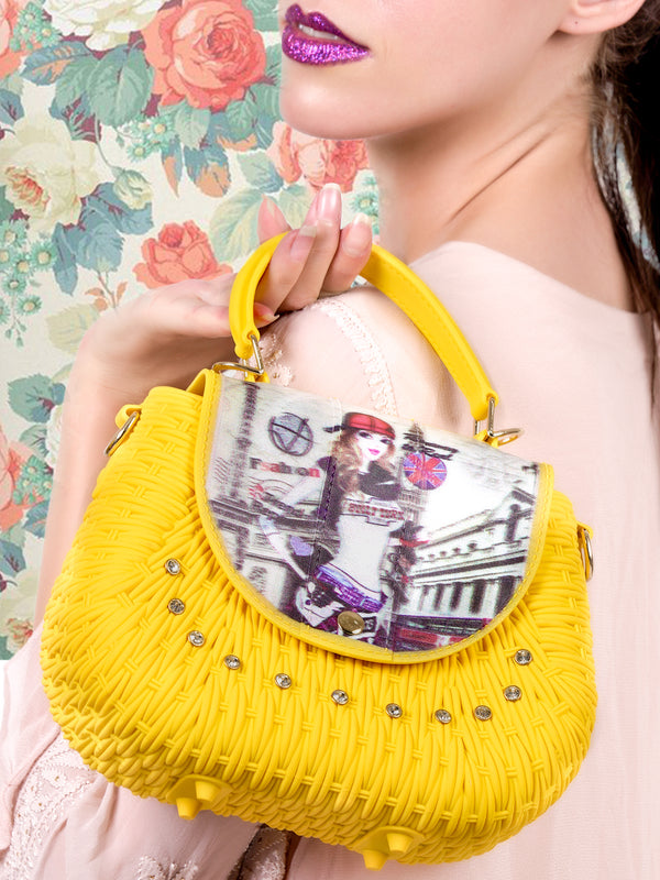 Supple yellow unique handbag