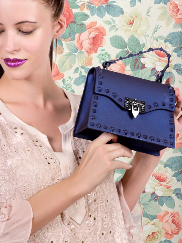 Royal blue pliant appealing handbag