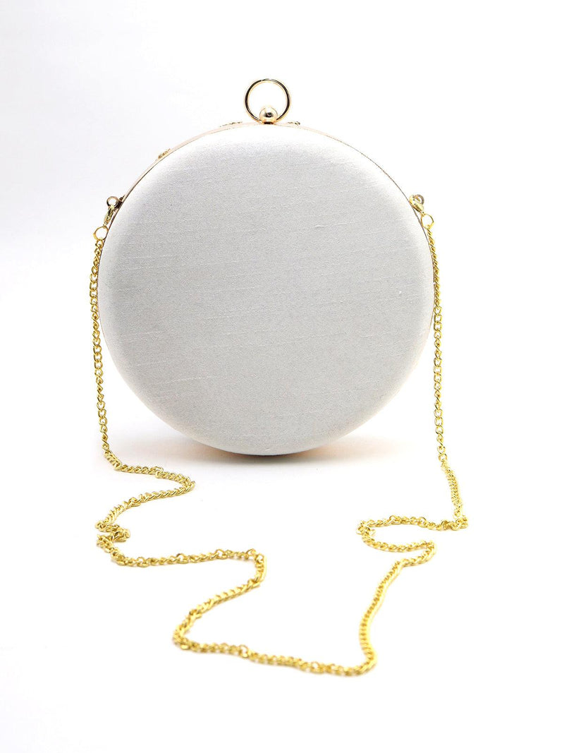 White Pretty Round Adorning Clutch!