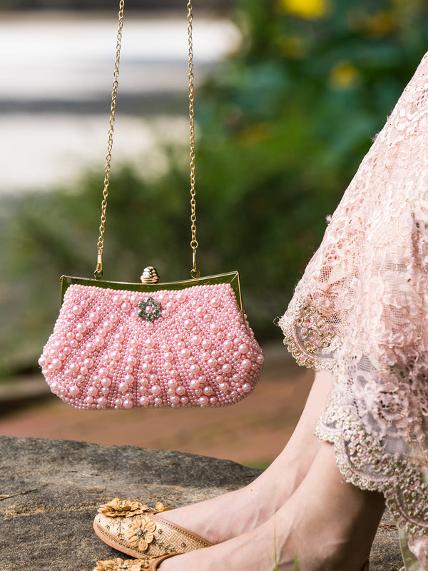 Bejeweled Rectangular Pink Pearl Clutch