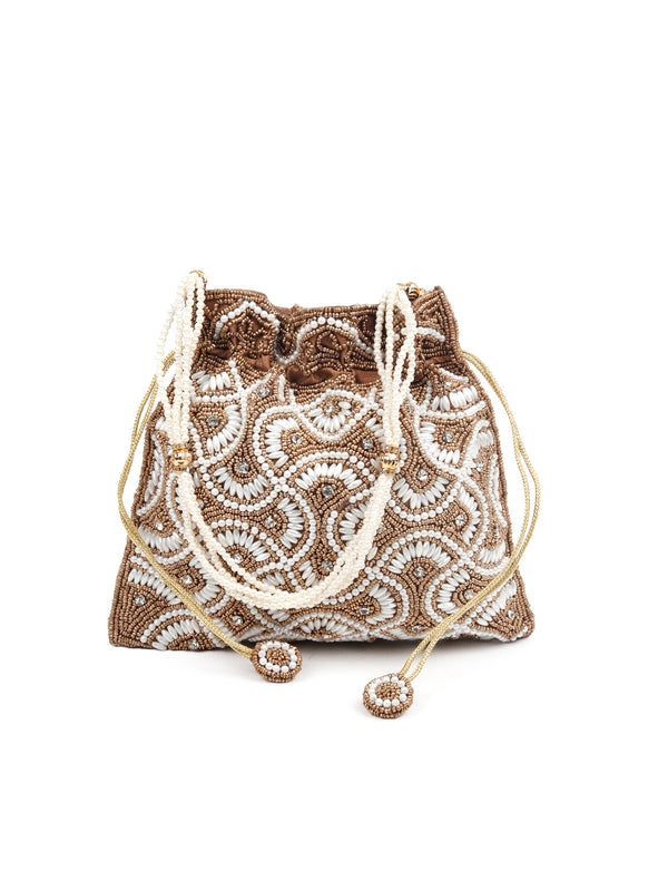 Golden potli handbag with faux pearls and brown beads