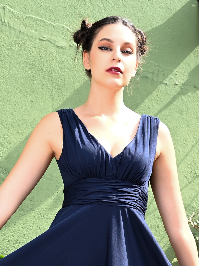 Navy Blue Refined Free Flowing Maxi Dress