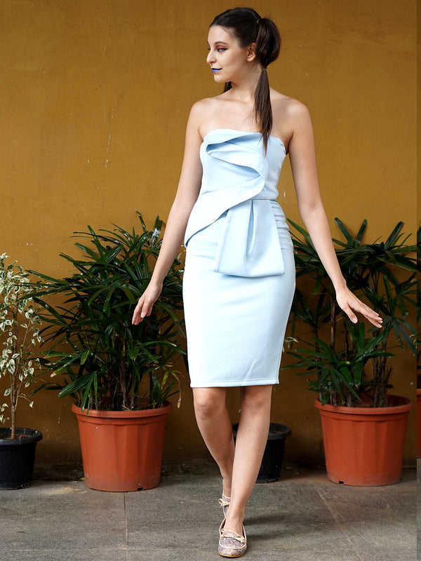 Off the Shoulder Classic Sky Blue Tube Dress