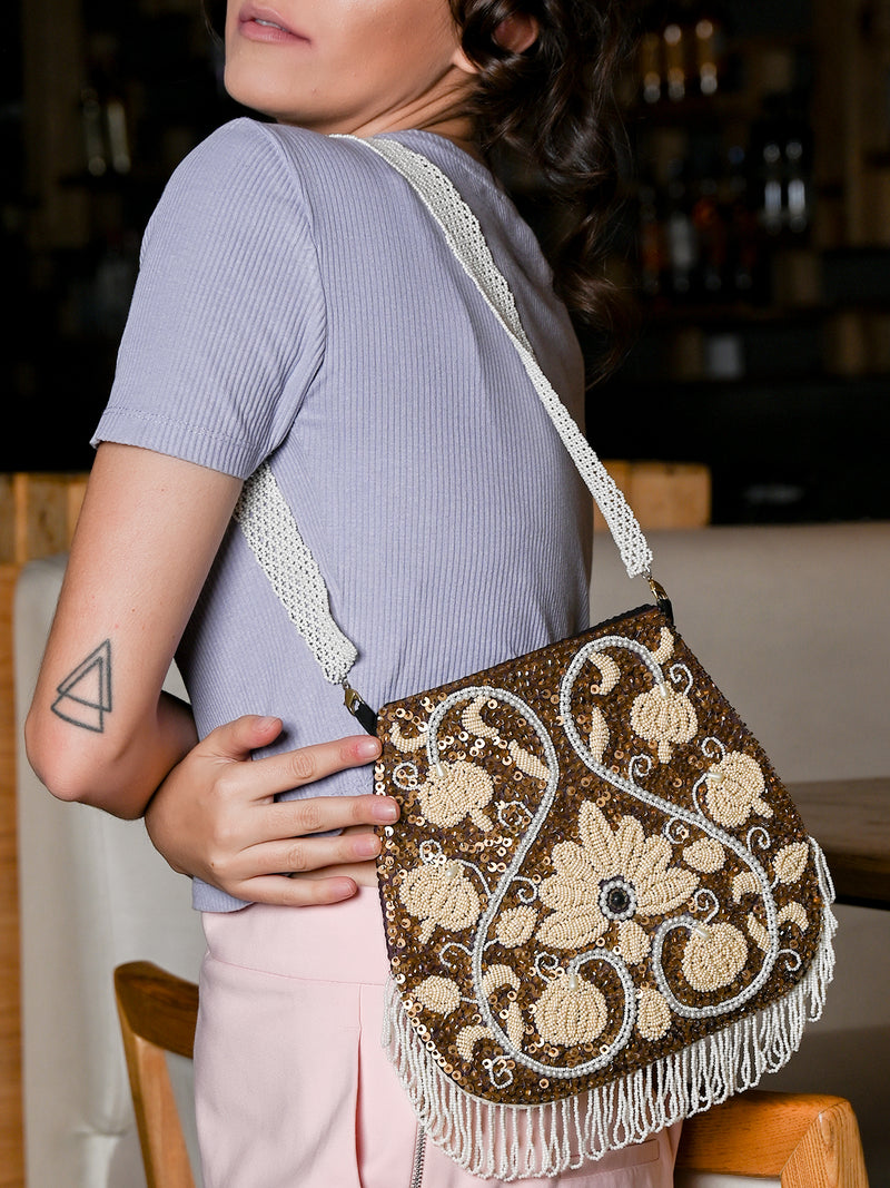 Half Moon Shaped Brown Embroidered Sling Bag