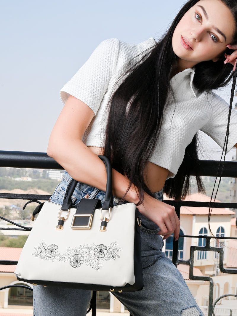 White Leatherette Bag With Beautiful Embroidery