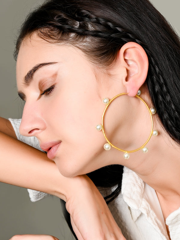 Gold Matt Hoop Earrings