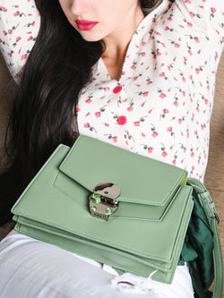 Green Casual Leather Bag