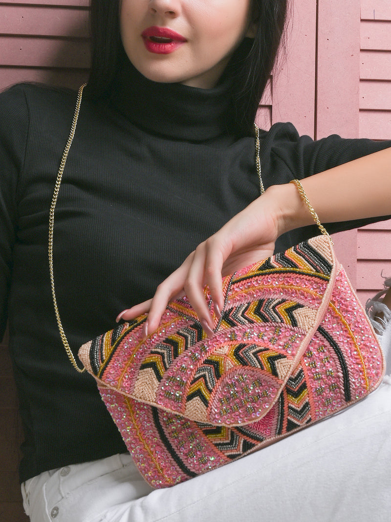 Pink Jute Sling Bag With Heavy Embroidery