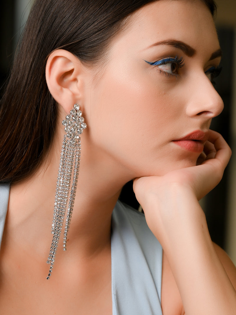 Silver Diamond Shape Tassel Earrings