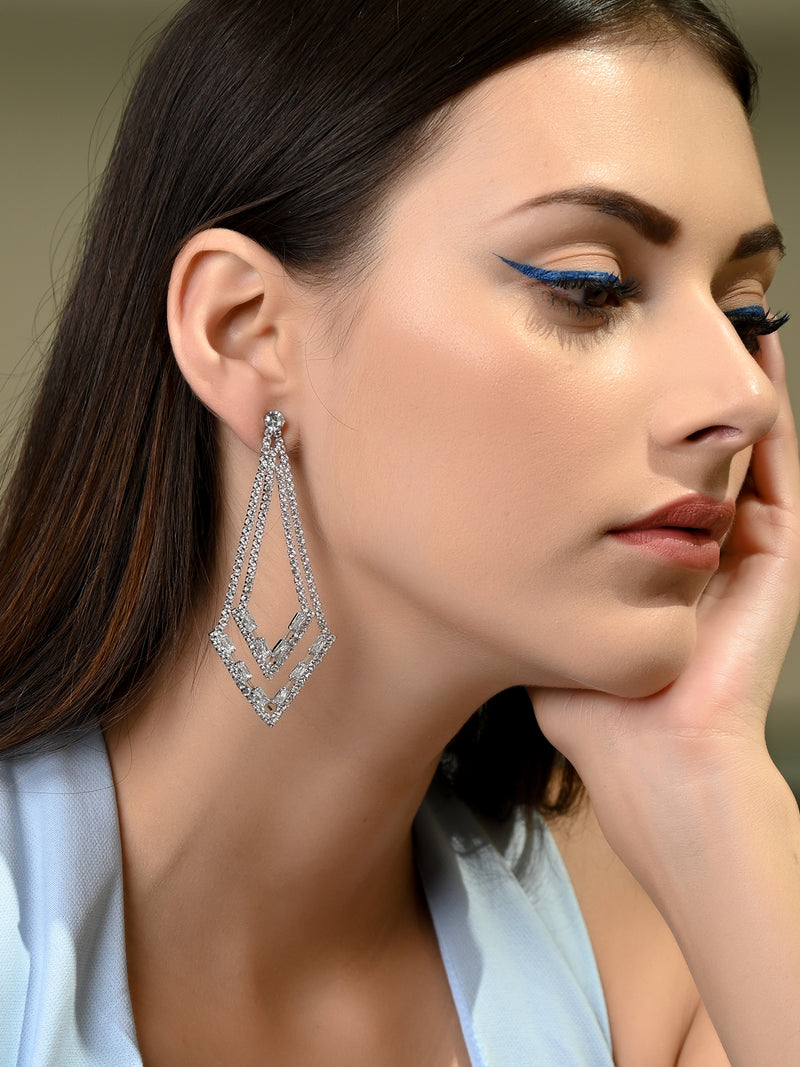 Silver Slim-Layered Earrings