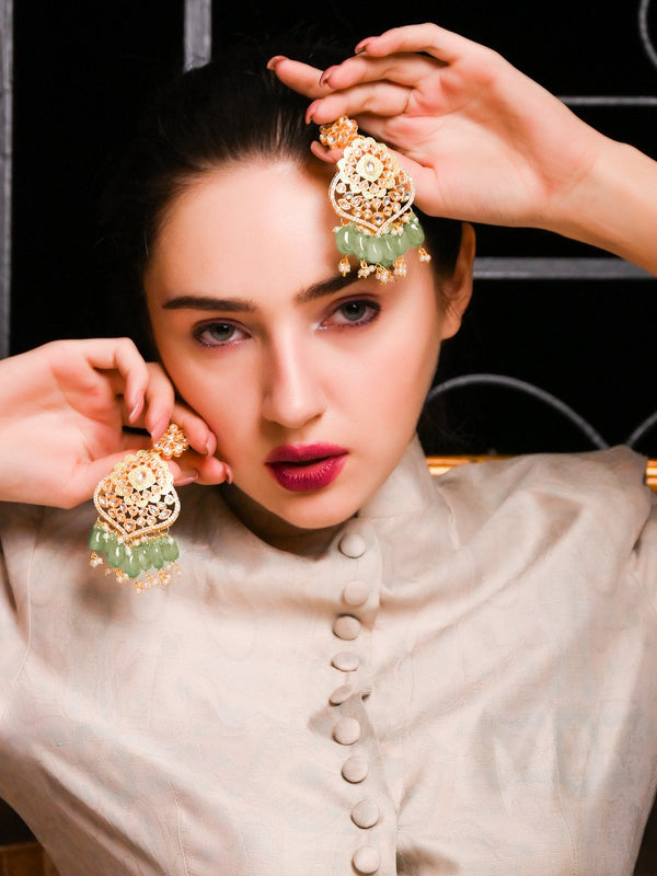 Golden And Green Dangle Earrings