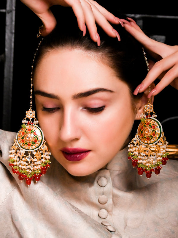 Golden Enamel Long Jhumkas With Chain