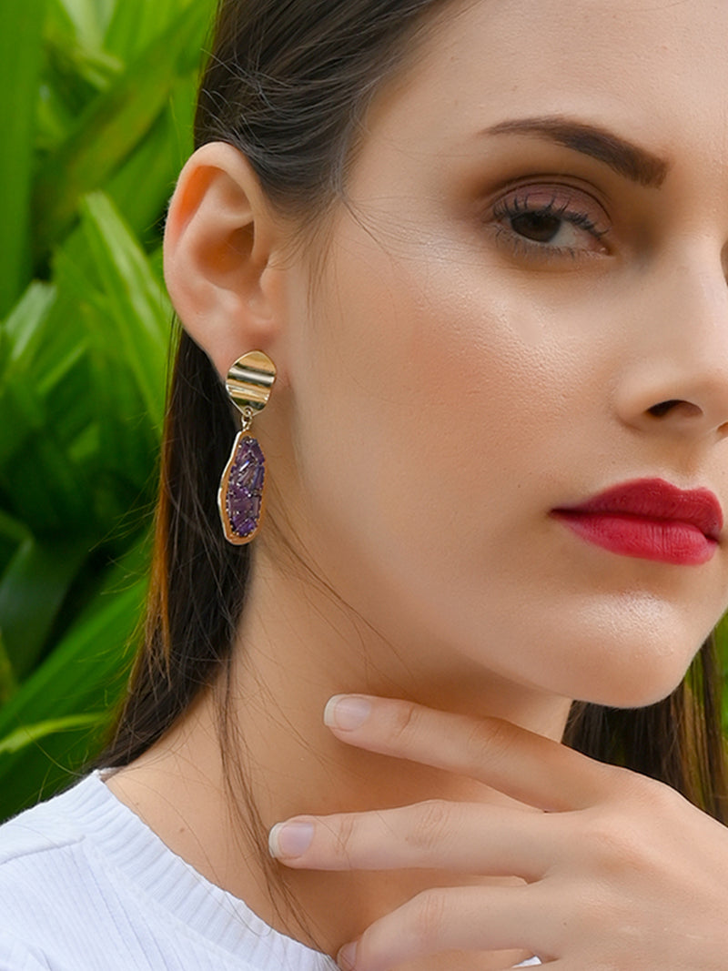 Purple Minimal Dangle Earrings