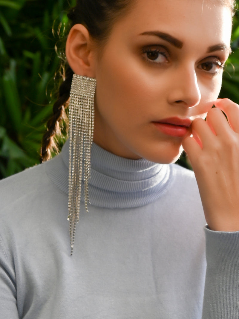Silver Square Shape Fine Tassel Earrings