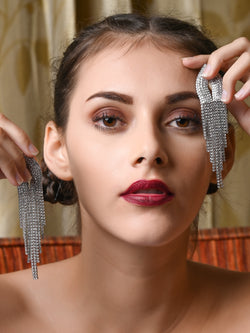 Silver Colour Designer Tassel Earrings
