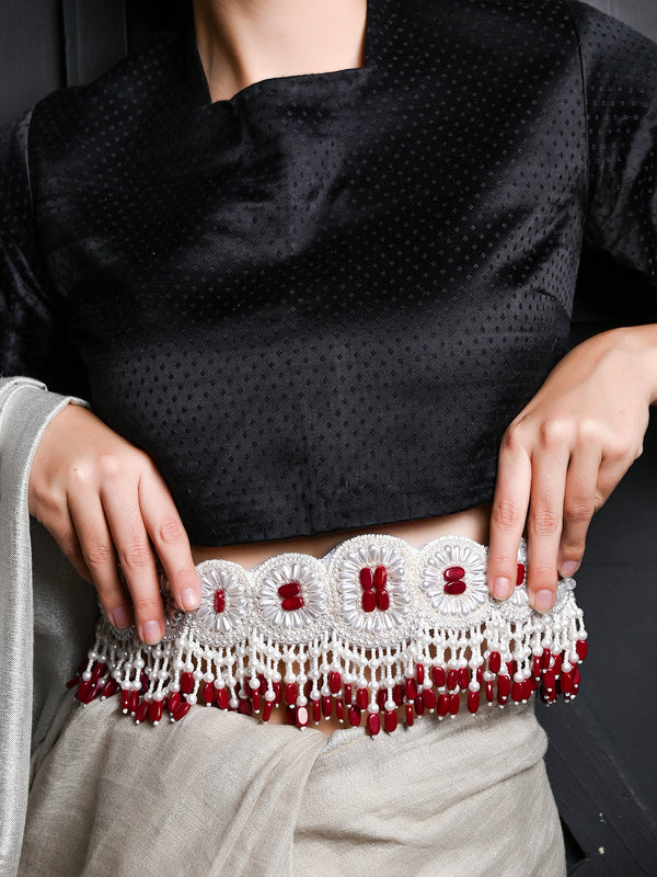 White And Red Pearl Beads Velvet Base Belt