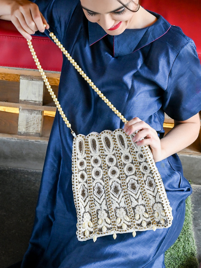 White And Golden Beaded Crystals Sling Bag