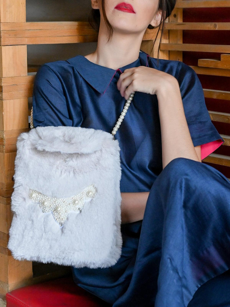 White Fur Sling Bag