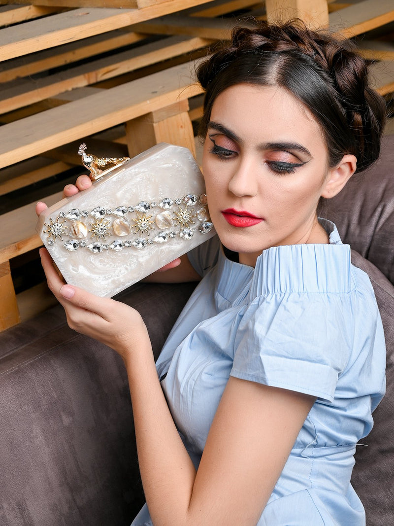 White Resin Peacock Clutch
