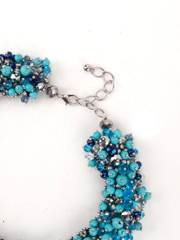Sea Blue Pearl Cluster Necklace