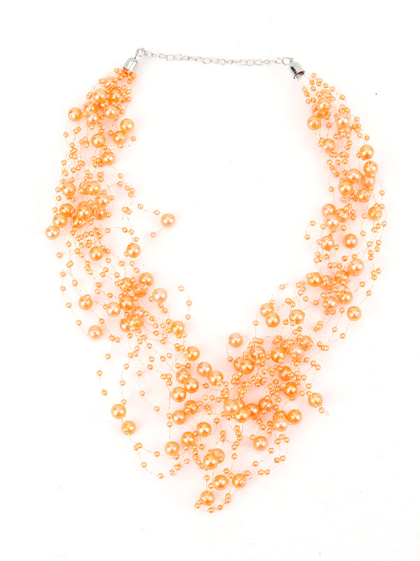 Orange Pearl Layering-Beaded Necklace