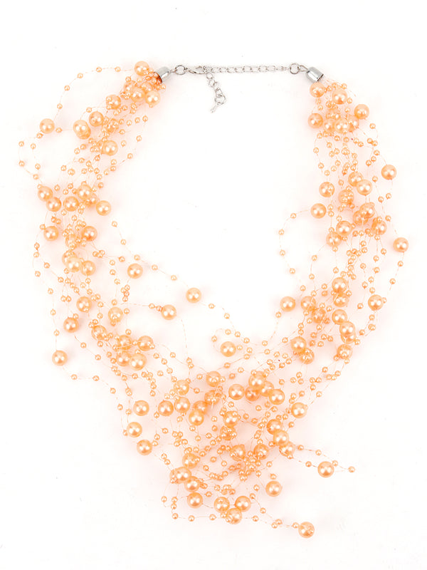 Peach Pearl Layering-Beaded Necklace