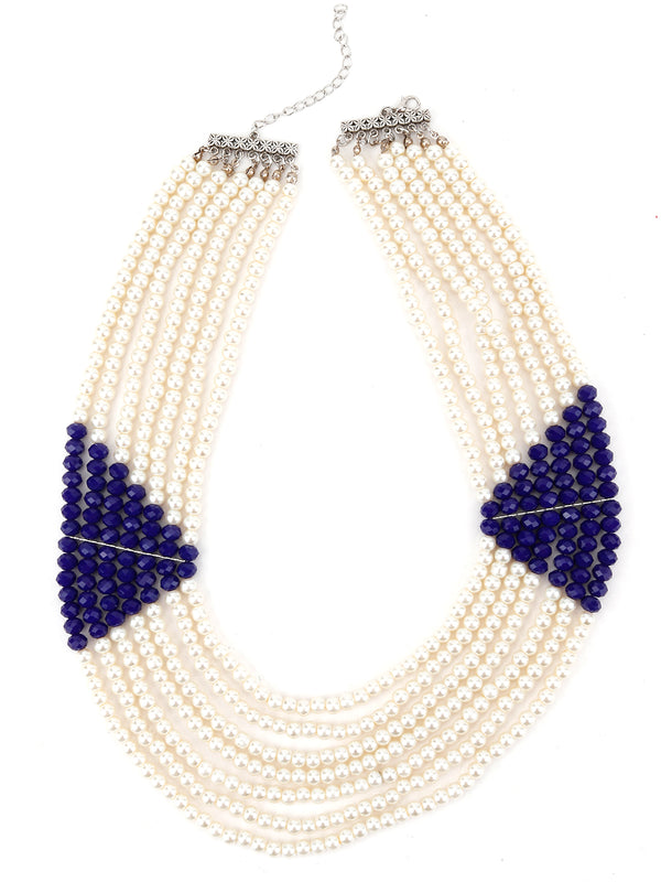Layering White and Royal Blue Pearl Queen Look Necklace