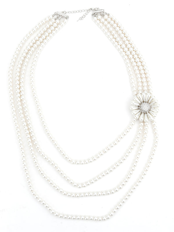 Layered White Pearl Divine Necklace