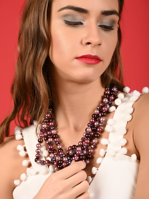 Purple Sweetheart Multistring Pearl Necklace