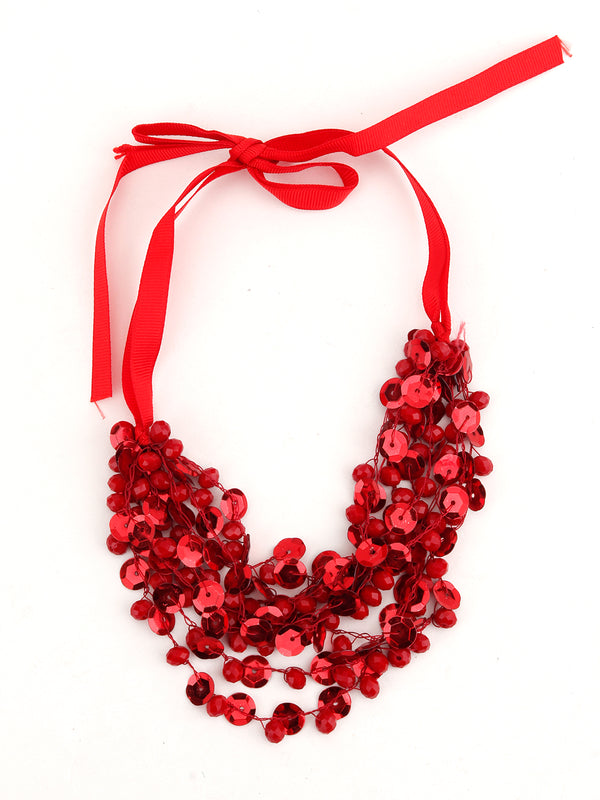 Red Sequin Flashy Layering Necklace