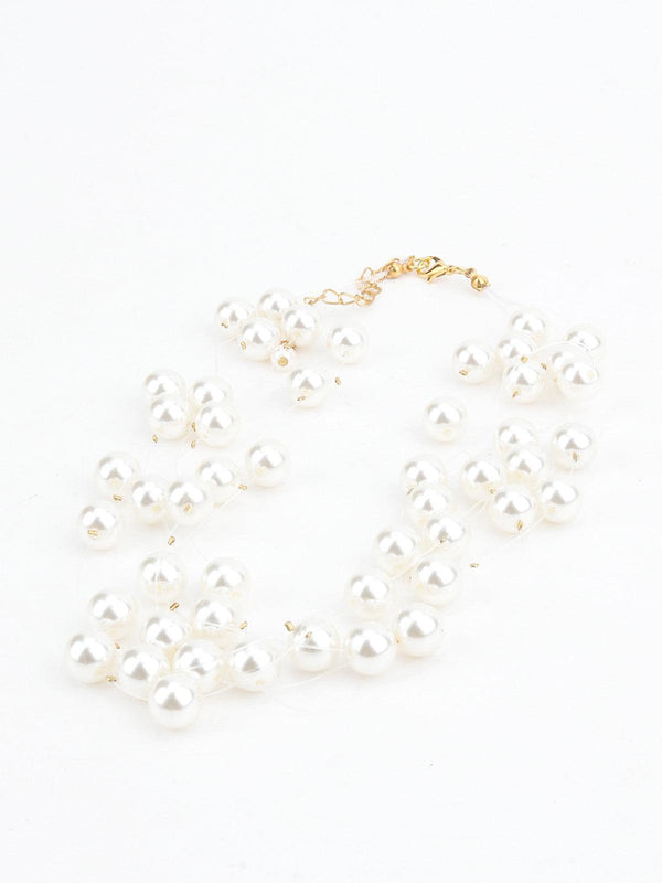 White Pearl Layering-Beaded Necklace