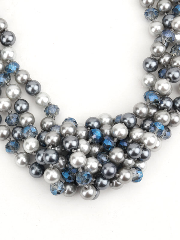 Grey-Blue Runway Fashion Multistring Pearl Necklace