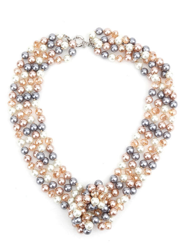 Multicolour Infinity Multistring Pearl Necklace