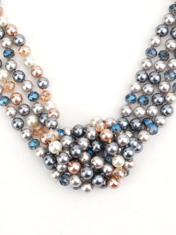 Multicolour Runway Fashion Multistring Pearl Necklace